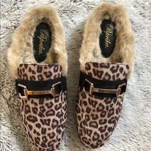 Shoes - Cheetah Gold Tone Horsebit Furry Backless Slip on